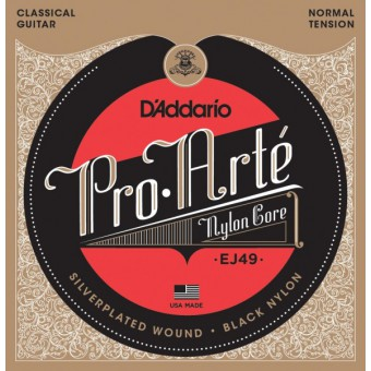 D'Addario EJ49 Pro-Arte Normal Tension Black Nylon & Silver