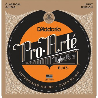 D'Addario EJ43 Pro-Arte Light Tension Clear Nylon & Silver