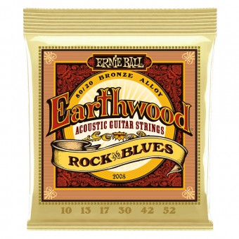 Струны для акустики Ernie Ball 2008 Earthwood Rock & Blues 80/20 Bronze 10-52