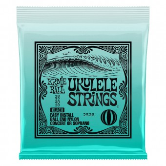 Струны для укулеле сопрано и концерт Ernie Ball 2326 Ukulele Black Nylon Ball End