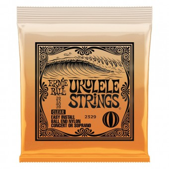 Струны для укулеле концерт и сопрано Ernie Ball 2329 Ukulele Clear Nylon Ball End